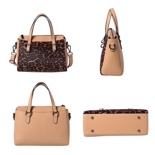 100% Genuine Leather Leopard Pattern Tote Bag (28x12x20cm) with Adjustable Shoulder Strap - Coffee Colour