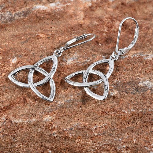 Platinum Overlay Sterling Silver Lever Back Earrings