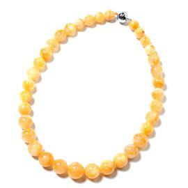 First Time Ever - Extremely Rare Size Natural Citrine (Rnd 11mm-19mm) Necklace (Size 20) in Rhodium