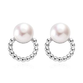 Freshwater Pearl (Rnd) Earrings (with Push Back) in Platinum Overlay Sterling Silver