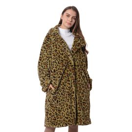Green and Black Colour Leopard Print Pattern Faux Fur Long Coat (Size L to XL)