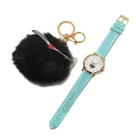 2 Piece Set- STRADA Japanese Movement Water Resistant Watch with Blue Strap and Black Cat Keychain