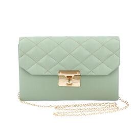 Mint Green Crossbody Bag with Clasp Lock (Size 22x6.5x14 Cm)