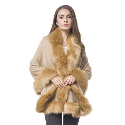 Designer Inspired - Camel Colour Jacket with Faux Fur Edge (One Size)