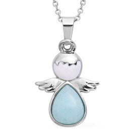 Amazonite Little Angel Enamelled Pendant with Chain (Size 20) in Stainless Steel 3.50 Ct.