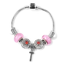T Initial Charm Bracelet for Children in Simulated Pink Colour Bead, Red and White Austrian Crystal
