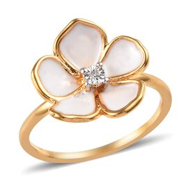 Diamond (Rnd) Enamelled Periwinkle Flower Ring in 14K Gold Overlay Sterling Silver 0.005 Ct.