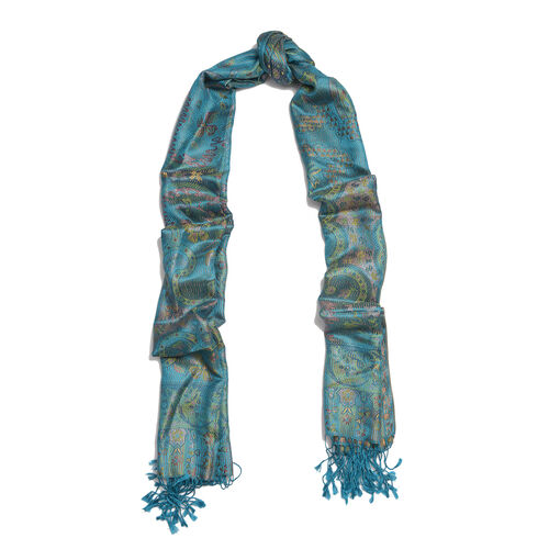 Jacquard Pattern 100% Mulberry Silk Turquoise Colour Scarf (Size 70x180 Cm)
