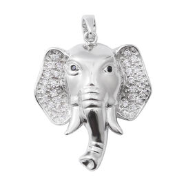 ELANZA Simulated Diamond (Rnd), Boi Ploi Black Spinel Elephant Pendant in Rhodium Overlay Sterling S