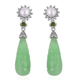 Carved Green Jade, Freshwater Pearl, Russian Diopside and Natural White Cambodian Zircon Earrings (w