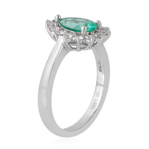 ILIANA 18K White Gold AAA Boyaca Colombian Emerald (Pear), Diamond (SI/G-H) Ring 1.600 Ct.