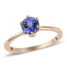 9K Yellow Gold AA Tanzanite (Rnd), Diamond Ring 1.03 Ct.