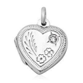 Sterling Silver Floral Engraved Heart Locket Pendant