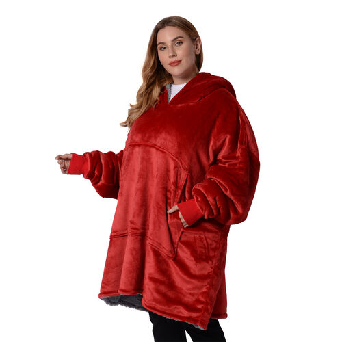 Serenity Night Supersoft Double Layer Wine Red Colour Blanket Hoodie (Size 85x90cm)