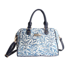 Signare - NEW Bowler Bag in Willow Bough Design. (30x14x23 cms) - Blue and White LIMITED STOCK