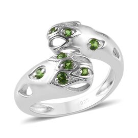 RACHEL GALLEY AA Russian Diopside (Rnd) Bypass Ring in Rhodium Overlay Sterling Silver