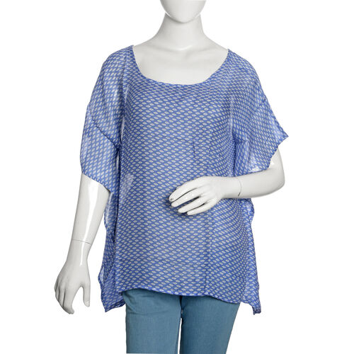 Designer Inspired- Blue and White Colour Printed Floaty Top (Free Size)