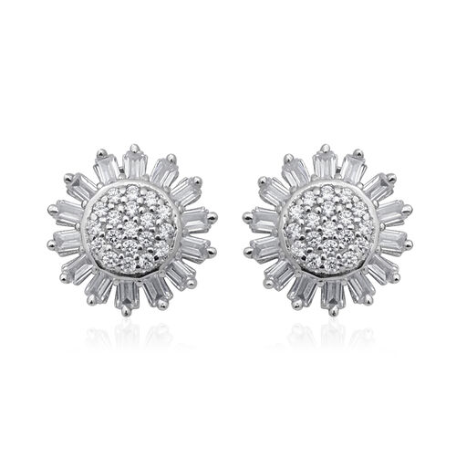 ELANZA Simulated Diamond Stud Earrings (with Push Back) in Sterling Silver