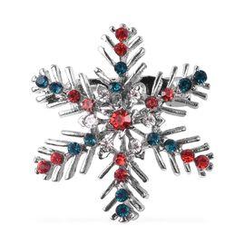 Multicolour Austrian Crystal (Rnd) Snowflake Brooch in Silver Tone