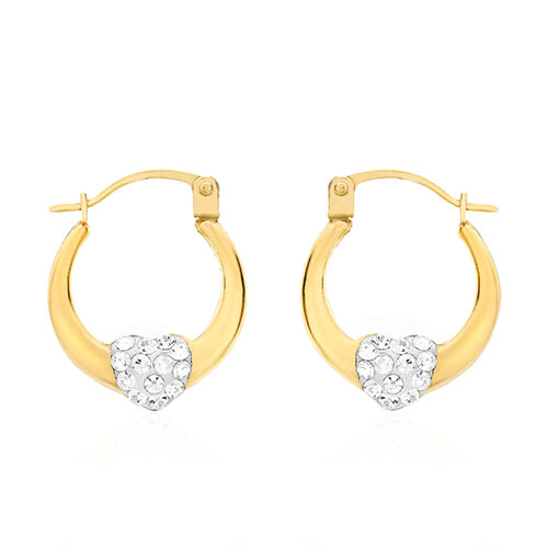 9K Yellow & White Gold Heart Creole Hoop Earrings (with Clasp Lock)