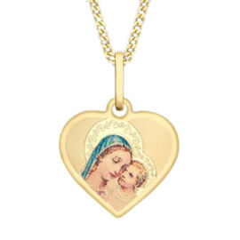 9K Yellow Gold Madonna and Child Heart Pendant