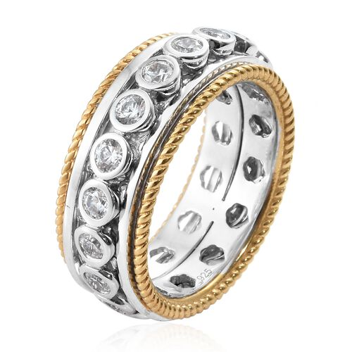 J Francis - Platinum and Yellow Gold Overlay Sterling Silver (Rnd) Full Eternity Band Ring Made with SWAROVSKI ZIRCONIA, Silver wt 10.06 Gms.