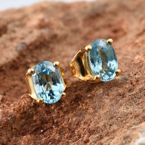 Blue Zircon Stud Earrings (with Push Back) in Gold Plated Silver