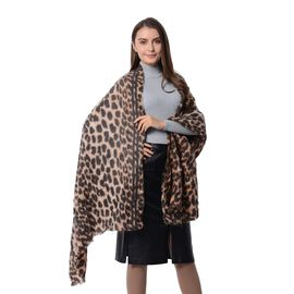Black and Brown Colour Leopard Print Pattern Scarf (Size 200x82 Cm)