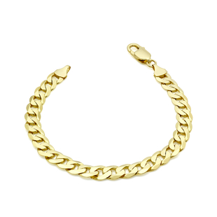 9K Yellow Gold Diamond Cut Flat Curb Chain Bracelet (Size 7.5) with Lobster Clasp, Gold wt 12.50 Gms