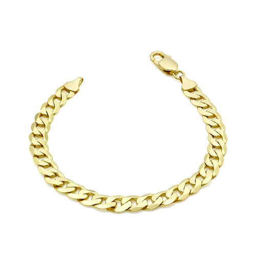 9K Yellow Gold Diamond Cut Flat Curb Chain Bracelet (Size 7.5), Gold wt 12.50 Gms