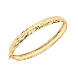 Half Diamond Cut Bangle in 9K Yellow Gold 7 Inch