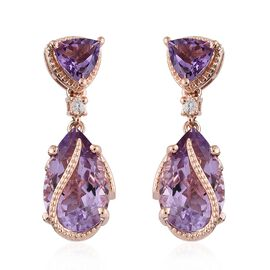 Rose De France Amethyst (Pear and Trl), Natural Cambodian Zircon Earrings (with Push Back) in Rose Gold Overlay Sterling Silver 13.250 Ct. Silver wt 6.69 Gms.