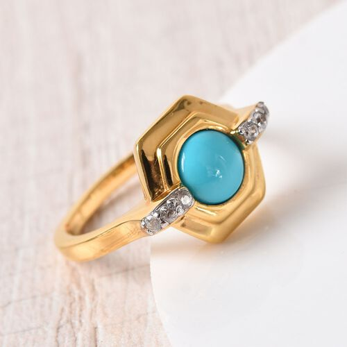 Arizona Sleeping Beauty Turquoise and Natural Cambodian Zircon Ring in 14K Gold Overlay Sterling Silver 1.00 Ct.
