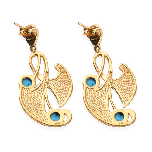 Arizona Sleeping Beauty Turquoise Enamelled Earrings (with Push Back) in in 14K Gold Overlay Sterling Silver 2.50 Ct, Silver wt 6.45 Gms