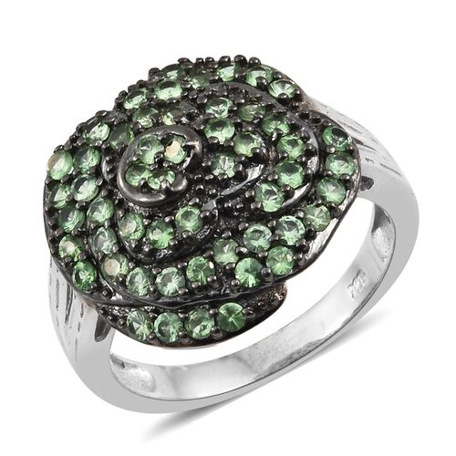 Exclusive Edition- Very Rare AAA Tsavorite Garnet (Rnd) Flower Ring in Black Rhodium and Platinum Ov
