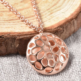 RACHEL GALLEY Disc Collection - Rose Gold Overlay Sterling Silver Pendant with Chain (Size 20) with T - Bar Lock, Silver wt. 8.86 Gms
