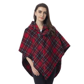 Black and Red Wine Colour Double Layer Plaid Pattern Cape (Size 99x76 Cm)