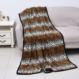 Super Soft Microfibre Plush Blanket Leopard Print (Size 150x200 Cm) - Black, Brown and White Colour