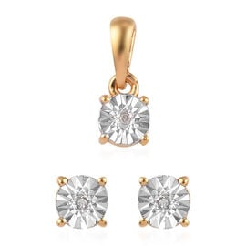 Valentine Day Gift Idea - 2 Piece Set -  White Diamond Solitaire Pendant and Stud Earrings (with Pus