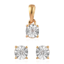 2 Piece Set -  White Diamond Solitaire Pendant and Stud Earrings (with Push Back) in 14K Gold Overla