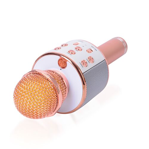 Wireless Rechargable Karaoke Microphone with Bluetooth Speaker (Size 23 Cm) Rose Gold Colour