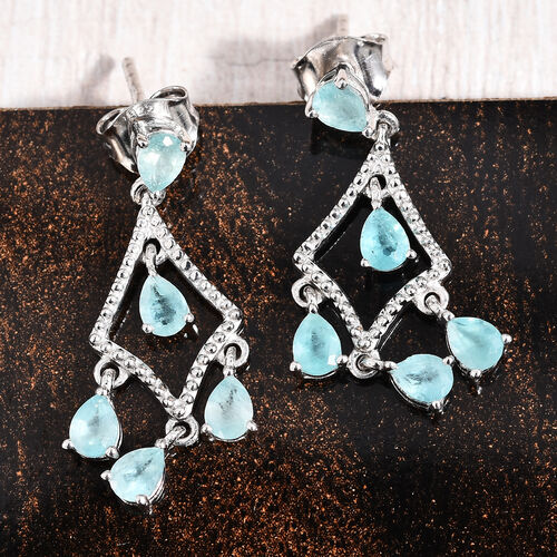 Grandidierite (Pear) Chandelier Earrings (with Push Back) in Platinum Overlay Sterling Silver 1.50 Ct.