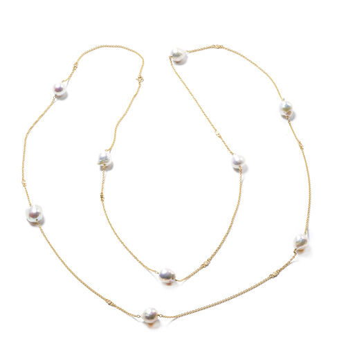 Isabella Liu Twilight Collection - Baroque Edison Pearl and Diamond Necklace (Size 60) in Yellow Gol