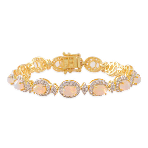 Ethiopian Welo Opal (Ovl), Natural White Cambodian Zircon Bracelet (Size 7.5) in 14K Gold Overlay Sterling Silver 11.250 Ct. Silver wt 18.00 Gms. Number of Gemstones 251