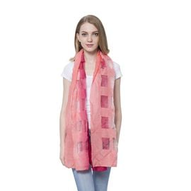 20% Wool Dark and Light Pink Colour Transparent Checks Pattern Scarf (Size 180x60 Cm)