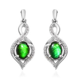 1.75 Ct Ammolite and Zircon Drop Earrings in Platinum Plated Sterling Silver