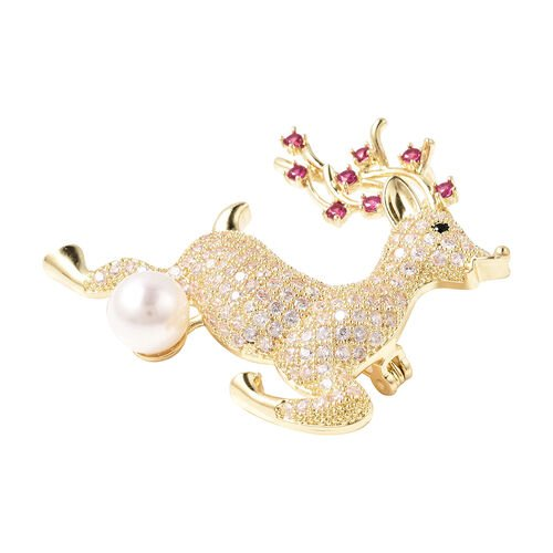 Simulated Multi Colour Gemstone and White Shell Pearl Reindeer Brooch or Pendant in Gold Tone