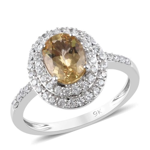 9K White Gold AA Imperial Topaz and Natural Cambodian Zircon Ring 2.00 Ct.