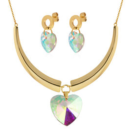 2 Piece Set - Magic Colour Simulated Mystic Topaz (Hrt) Earrings (with Push Back) and Necklace (Size