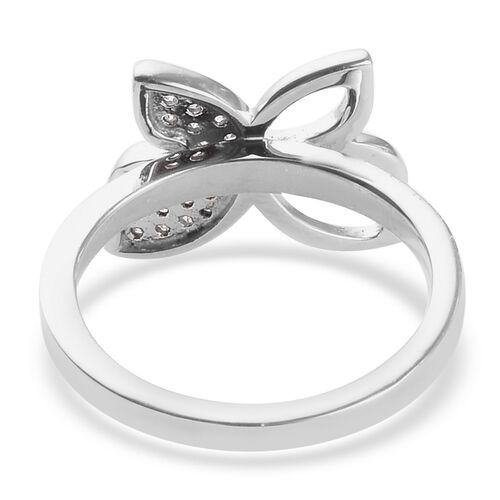 Diamond (Rnd) Butterfly Ring in Platinum Overlay Sterling Silver 0.20 Ct.